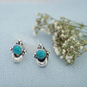 Turquoise And Silver Lunar Earrings