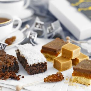 Box Of Sweet Treats And Tea - brownies