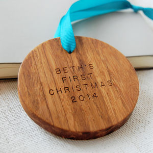 Personalised Wooden First Christmas Bauble