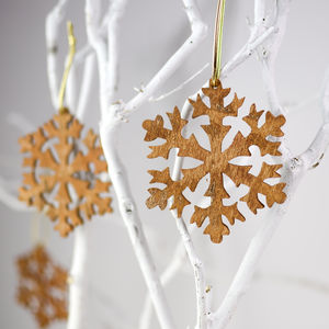 Aromatic Cinnamon Christmas Tree Snowflake Decoration - ribbon & wrap