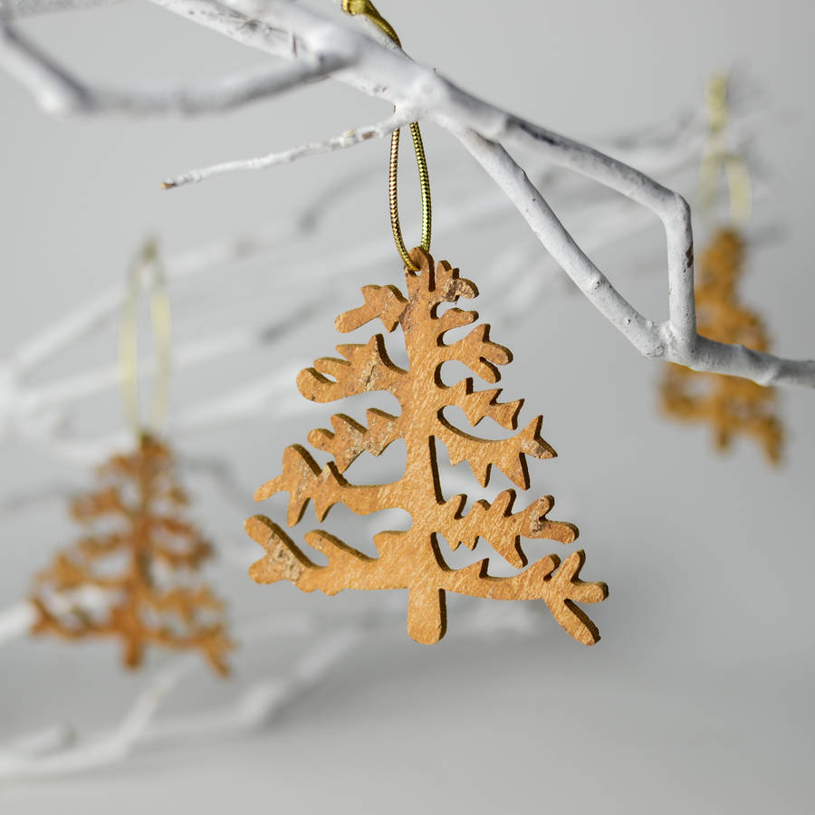 Aromatic Cinnamon Wood Christmas Tree Decoration