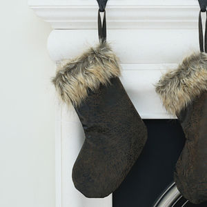 Faux Fur And Leather Christmas Stocking - winter sale