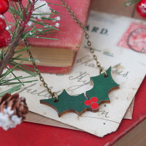 Wooden Holly Necklace - christmas jewellery
