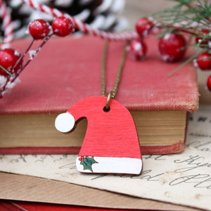 Wooden Santa Hat Necklace - necklaces