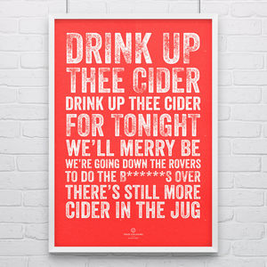 Bristol City 'Drink Up Thee Cider' Football Song Print