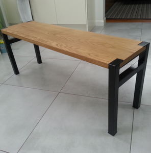Industrial Solid Oak And Steel Bench - furniture