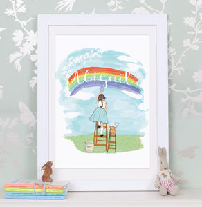 Personalised Girl's 'Painting Rainbows' Print - canvas prints & art for children