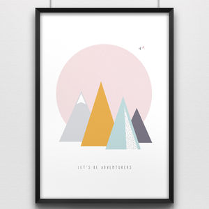 'Adventurers' Mountain Poster Print - home