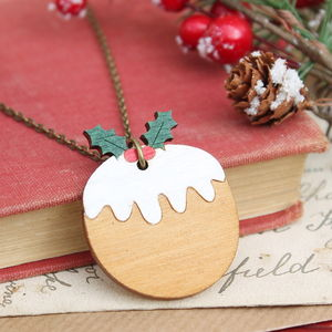 Wooden Christmas Pudding Necklace - necklaces