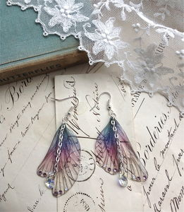 Purple Rainbow Wing Earrings - earrings