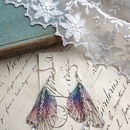 Purple Rainbow Wing Earrings