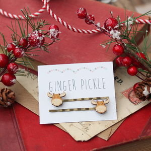 Wooden Reindeer Hair Grips