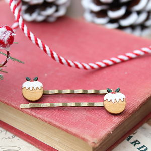 Wooden Christmas Pudding Hair Grips - more