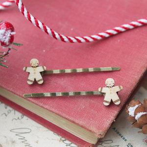 Wooden Gingerbread Man Hair Grips