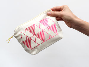 Geometric Red And Pink Zip Bag