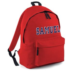 Personalised Applique Name Back Pack Red - personalised