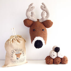 Make Your Own Faux Deer Knitting Kit - not easily forgotten