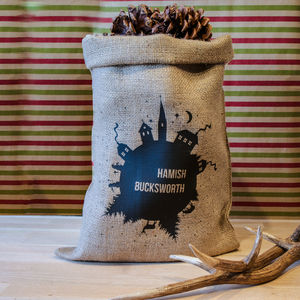 Personalised Christmas Scene Hessian Gift Sack - last-minute christmas decorations
