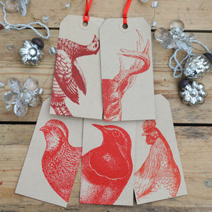 Animal Christmas Gift Tags Red - cards & wrap