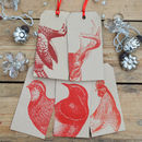 Animal Christmas Gift Tags Red