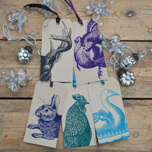 Animal Christmas Gift Tags Mixed