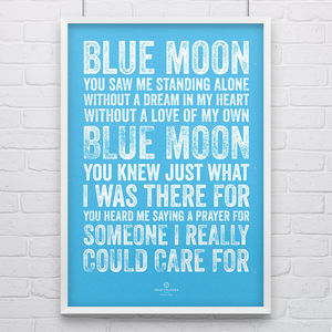 Manchester City 'Blue Moon' Football Song Print
