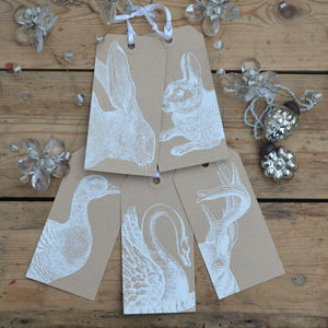 Animal Christmas Gift Tags White - cards & wrap