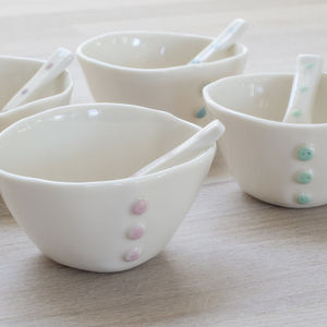 Handmade Porcelain Button Bowl And Spoon - bowls