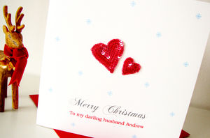 Personalised Red Hearts Christmas Card - cards