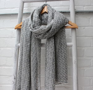 Grey Woven Cashmere Scarf