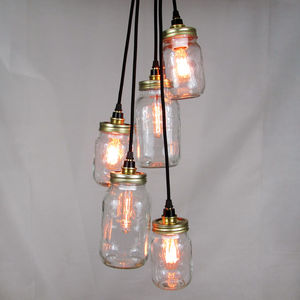 Kilner Jar Cluster Pendant Five Way - pendant lights