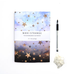 Cloudy Stars A5 Notebook With Lined Pages - office & study