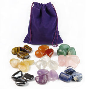 Tumbled Gemstones in a pouch - toys & games
