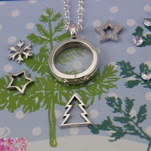 Baby's First Christmas Memory Locket Silver