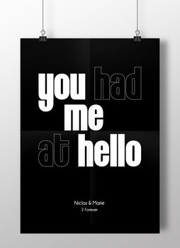 Personalised Name Love Print 'You Had Me At Hello'