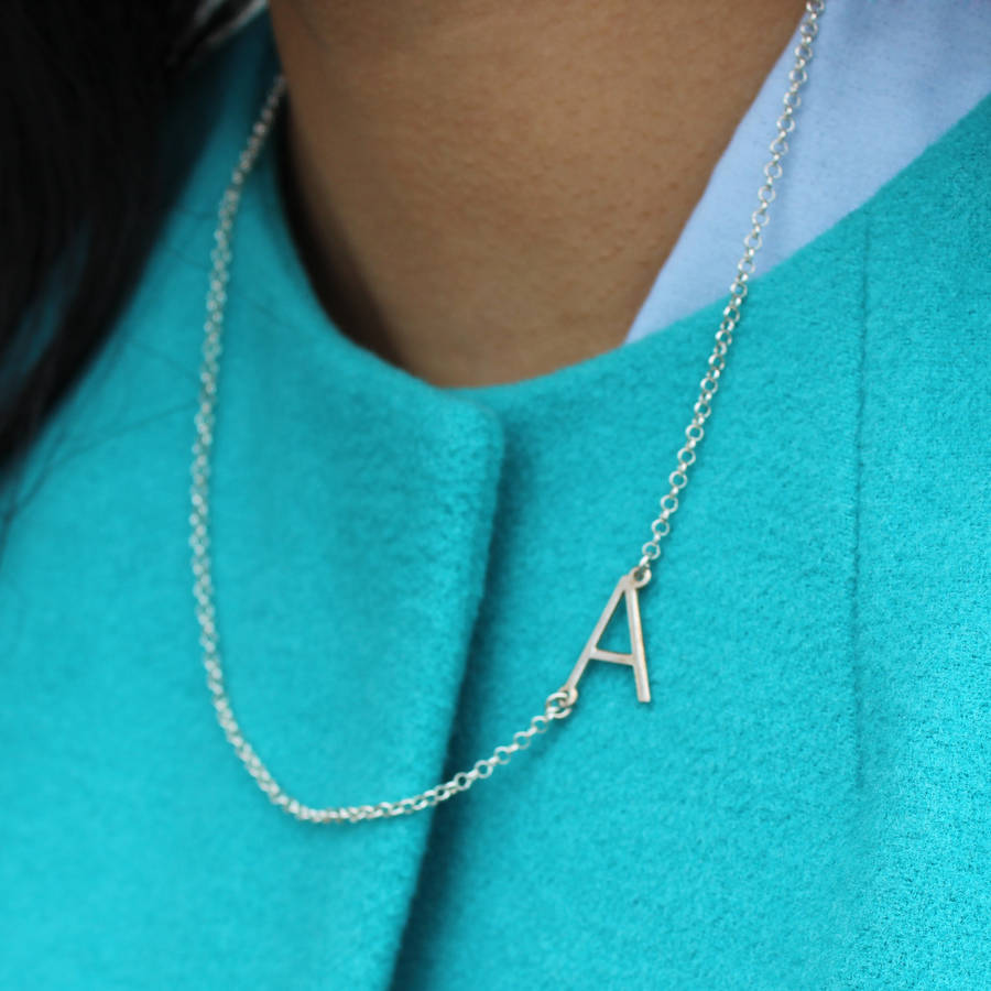 initial silver necklace chain sideways love i gold products jewelry sidewaysinitial