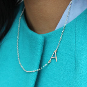 Personalised Initial Sideways Necklace