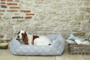 Luxury Stylish Dog Bolster Bed In French Grey - more
