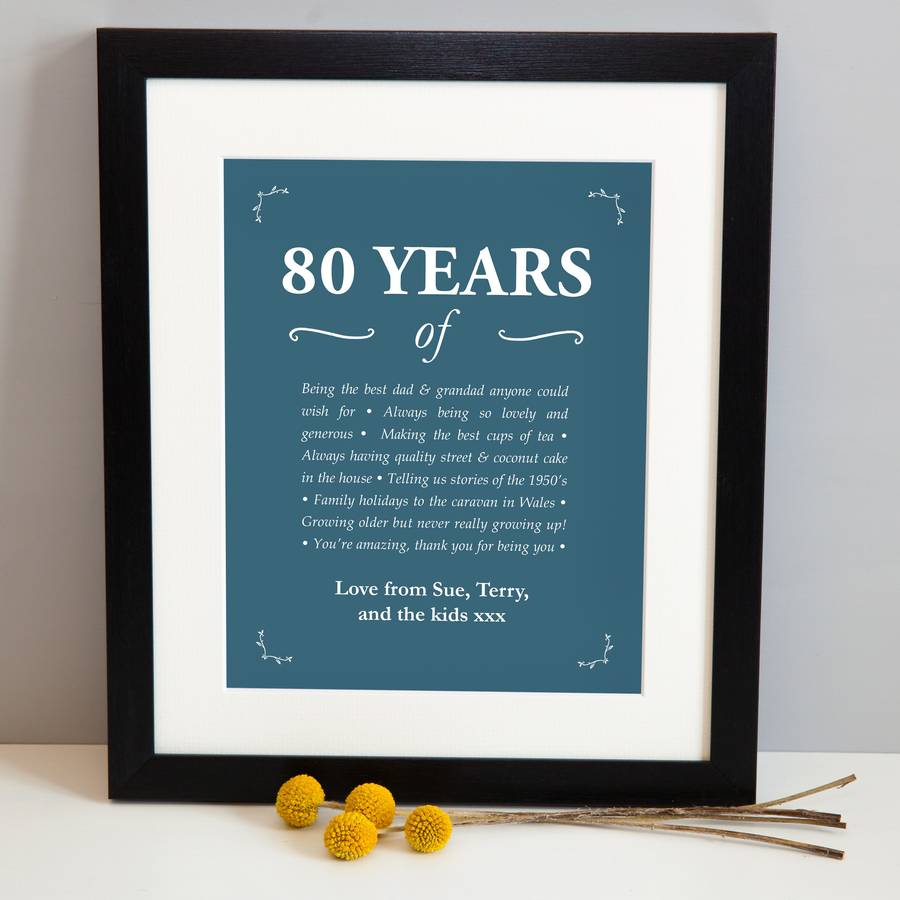 Personalised 80th Birthday Print