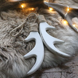 Large Wooden Antler Decoration - tree decorations