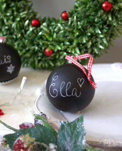 Box Of Four Black Chalkboard Christmas Baubles