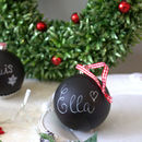 Box Of Four Black Chalkboard Baubles