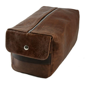 Oversized Leather Wash Bag - men's grooming & toiletries