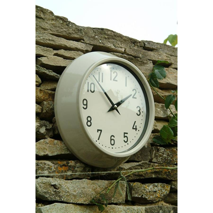 cream retro indoor and outdoor wall clock by garden