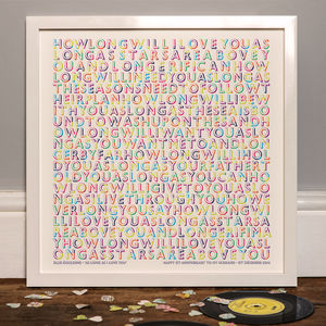 Personalised 'Our Song' Typographic Lyric Print - music