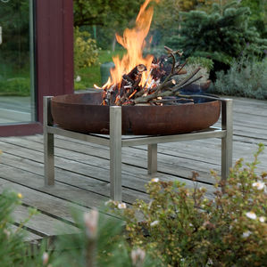 Steel Crate Fire Pit - summer garden