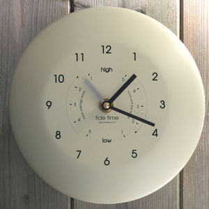 Stainless Steel Time And Tide Clock Cream - clocks