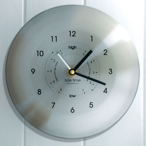 Stainless Steel Time And Tide Clock Silver - clocks