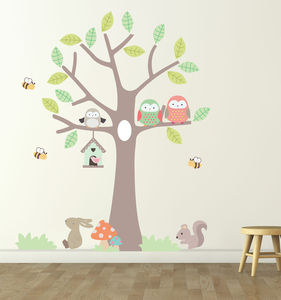 Tree With Owls And Bees