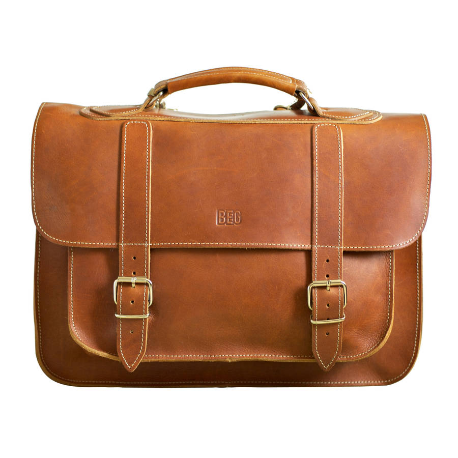 old school leather satchel by beg bicycles